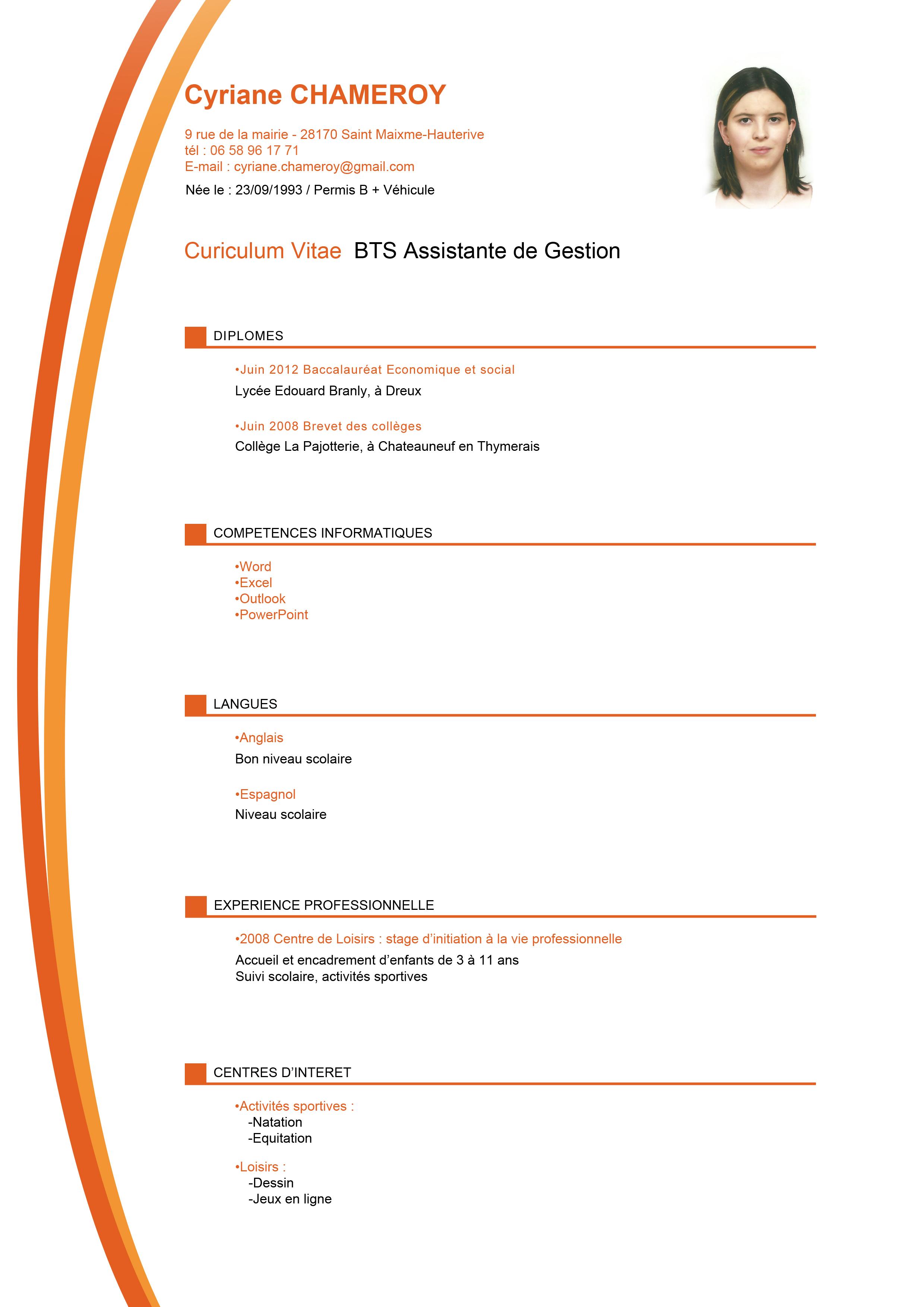 resume format  modele cv gratuit assistant de gestion